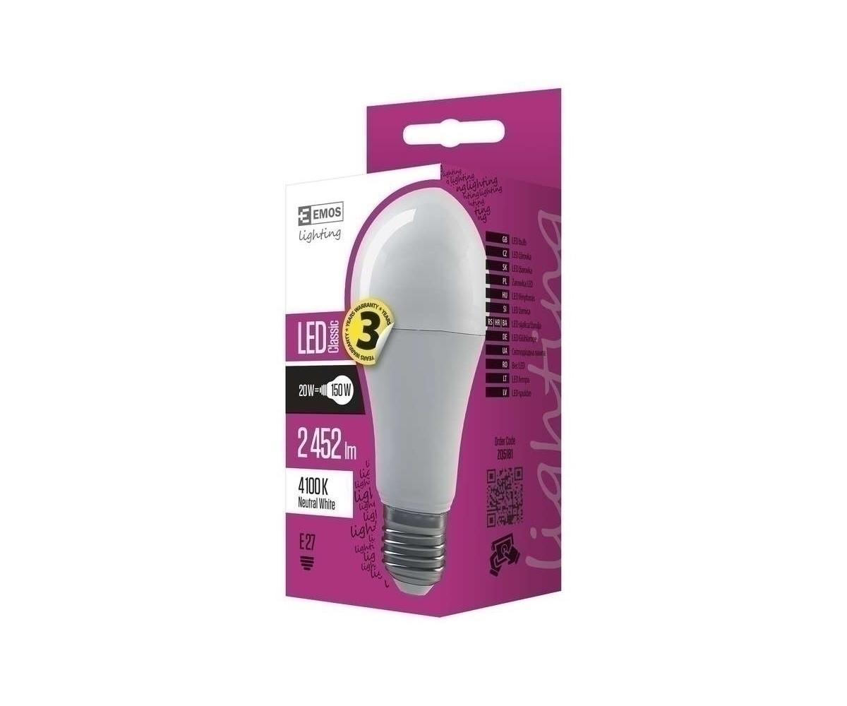 20w Led Odpowiednik: Żarówka EMOS CLS LED E27 20W NW ZQ5181